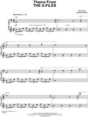 piano tutorial x files theme quot theme from the x files quot from the x files sheet music