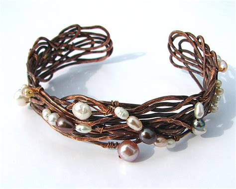 Handcrafted Copper Bracelets - hammered copper cuff bracelet copper wire bracelet handmade