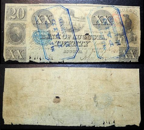 bank of augusta obsolete currency 1836 bank of augusta 20 dollars