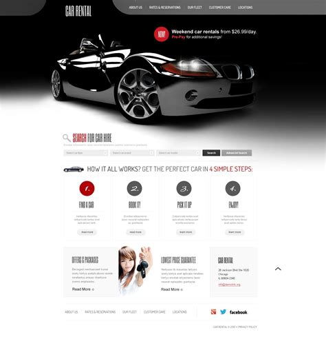 auto template car rental website template 41070