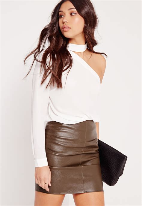 One Blouse by Missguided Choker Neck One Shoulder Blouse White In White