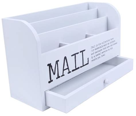 Mail Organizer Desk Mail Organizer 3 Tiered White Letter File Wooden Desk Compartment Sorter Organizer Storage