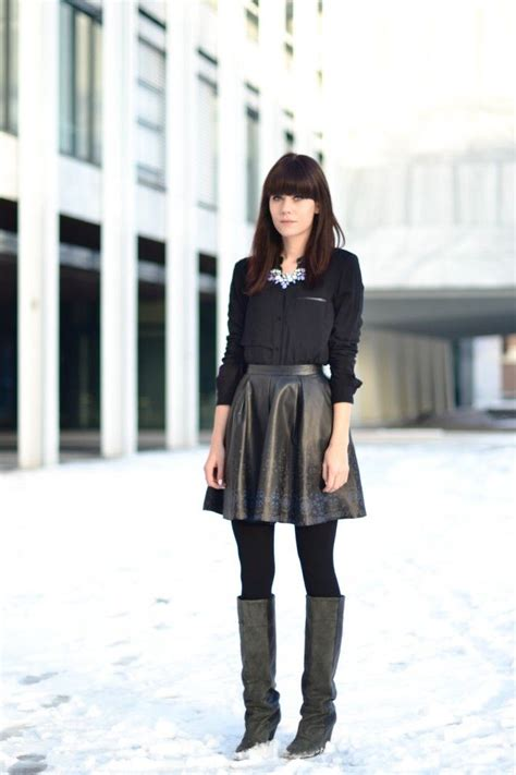 look leather skirt casual blouse winter