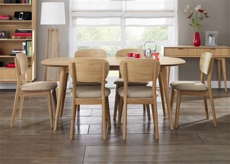 retro oak extending dining table with 8 dining chairs