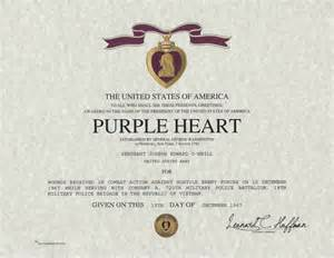 purple heart medal certificate navy and marine corps