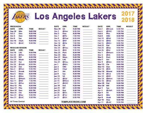 printable 2017 2018 los angeles lakers schedule