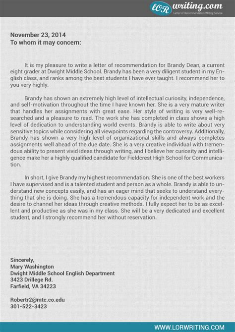 Recommendation Letter For High School Sle Letter Of Recommendation For High School Student