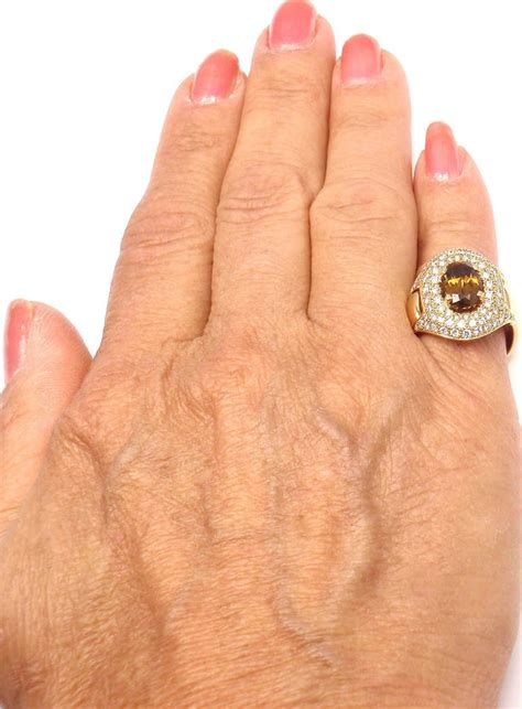 Imperial Chagne Topaz 8 30ct hermes imperial topaz yellow gold ring at 1stdibs