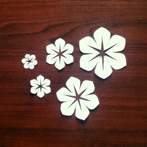 floral paper cut out card template fabric flowers version 2
