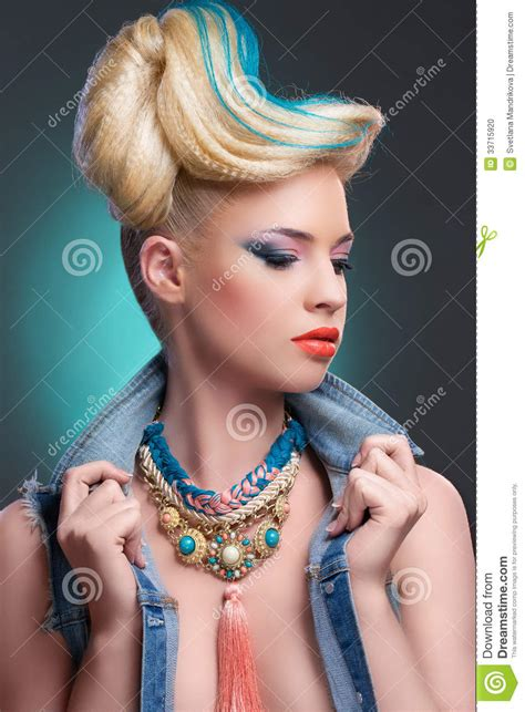 girl  fancy hairstyle  makeup stock photo image