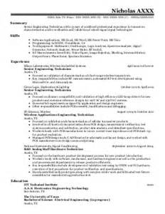 Sle Resume For Technician Electrical Sle Resume For Electrical Maintenance Technician Chemical