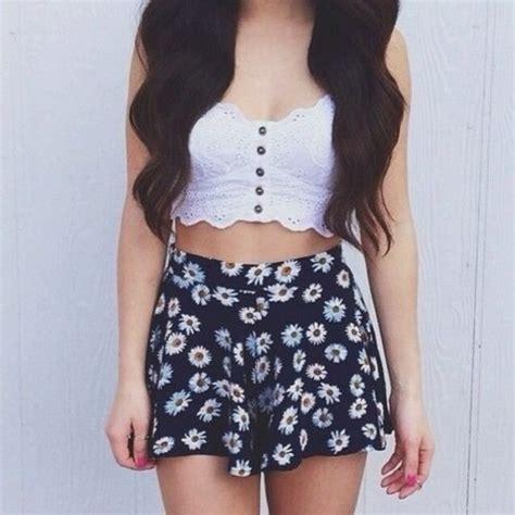 shorts floral shirt skirt flowers crop tops pink