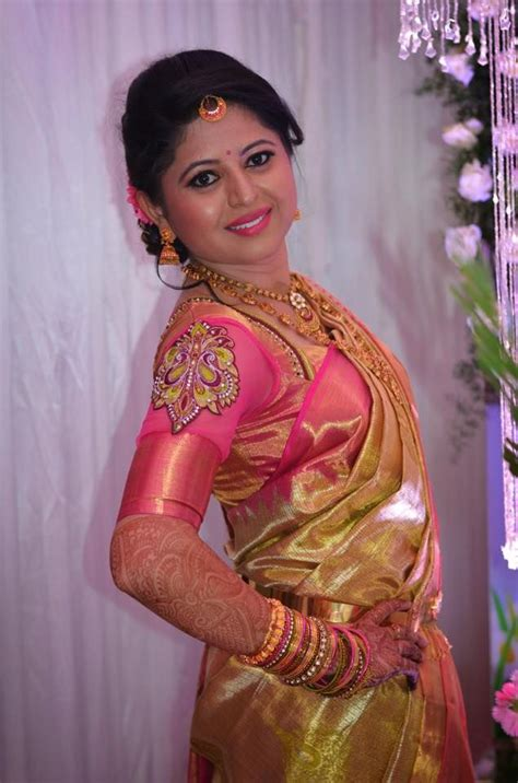 bridal hairstyles for silk saree traditional southern indian bride wearing bridal silk