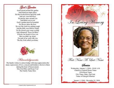 funeral program templates red rose