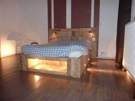 wood pallet bed frame with lights diy pallet bed with lights 99 pallets