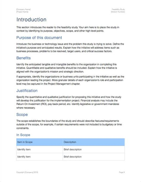 Feasibility Study Template Apple Iwork Pages Feasibility Template