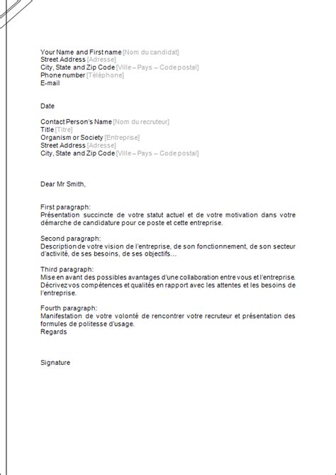 Lettre De Motivation Anglais Communication lettre de motivation neutre