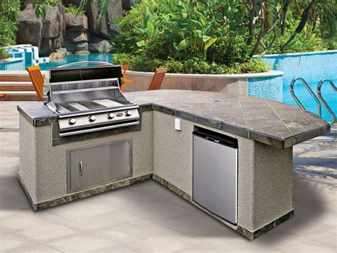 kitchen inspiring prefab outdoor kitchen grill design with l shaped using gray tile top