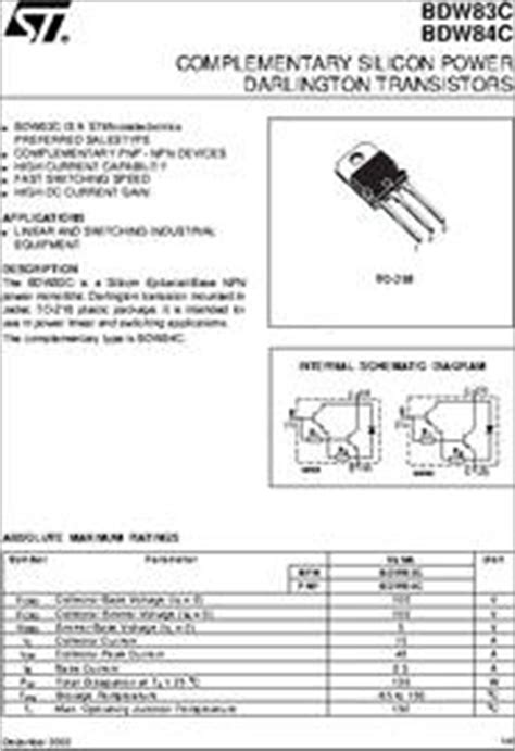 high current darlington transistor datasheet bdw83c datasheet high current silicon power darlington transistors