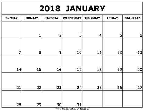 printable calendar for january 2018 blank january 2018 calendar printable