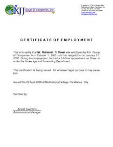 Letter Of Certification Of Employment Template 9 Best Images Of Certificate Of Employment Template Employment Certificate Letter Sample