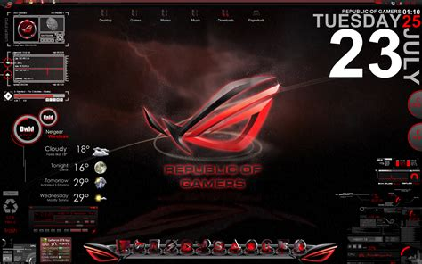 download theme windows 7 republic of gamers asus republic of gamers desktop screen by sekunden1337 on