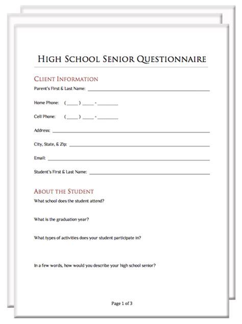 Addition Planner photography client questionnaire packet