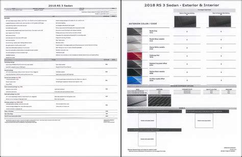 2019 audi dealer order guide 2018 rs3 order guide released audi