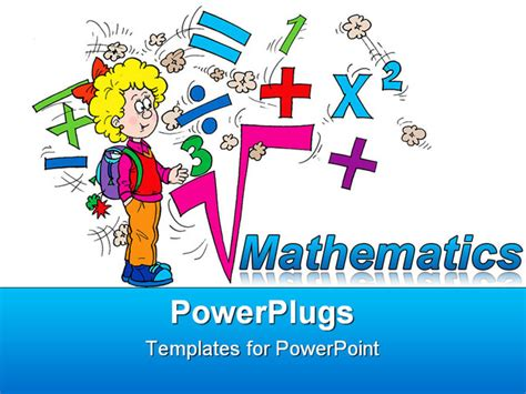 Powerpoint Template Math Related Symbols And The Word Mathematics With A Blond Girl Pupil On Math Powerpoint Backgrounds