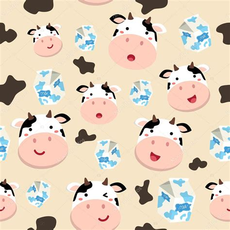 pattern illustrator cow seamless pattern cow and milk carton in spotted cream