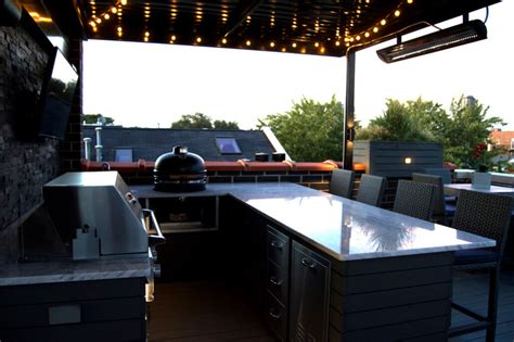 Backyard Grill West Chicago Rooftop Deck With Landscape Lighting Bbq And Outdoor