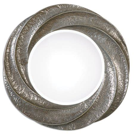 round silver bevelled mirror 35 quot decorative hammered metal spiral silver plated beveled wall mirror walmart