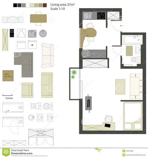 floor plan furniture collection stock image image vector flat projection with furniture set scale stock
