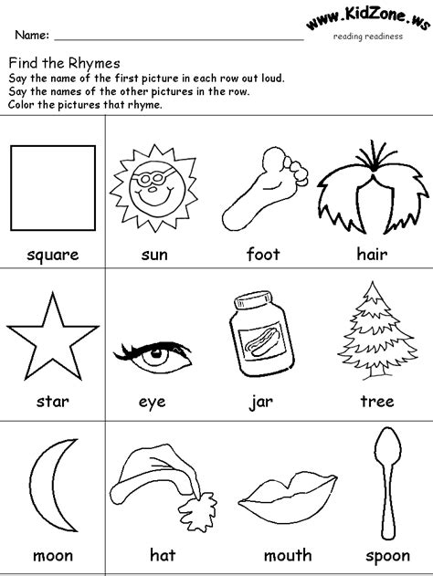 Reading Readiness Worksheets by Rhymes 4