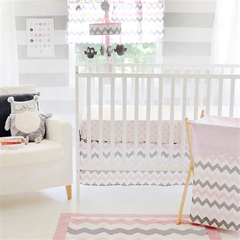 gray chevron crib bedding 4 piece set includes