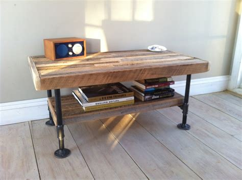 Pipe Leg Coffee Table Industrial Wood Steel Media Stand Or Coffee Table Reclaimed Barnwood With Industrial Pipe