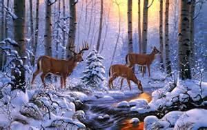 Winter scene art forest painting deers wallpaper