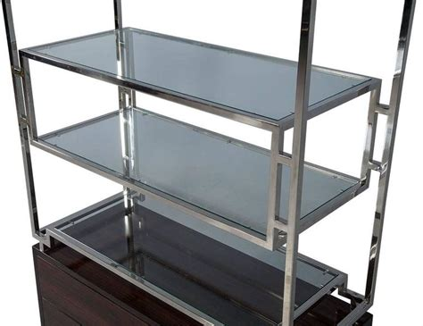 Etagere 9 Cases Leclerc by Geometric Stainless Steel Etagere With Macassar Base For