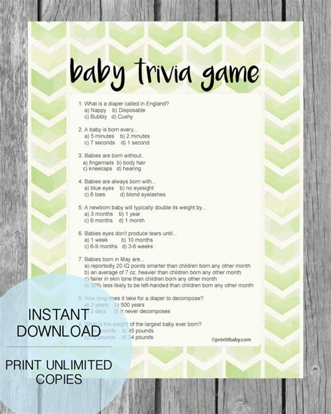 Baby Shower Trivia by Printable Lime Green Arrow Baby Shower Trivia Print
