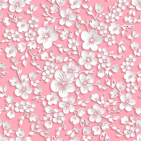 pattern flowers vector beautiful paper flower seamless pattern vector 01 vector