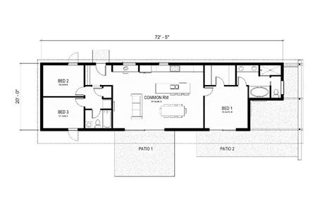 home design for rectangular plot modern style house plan 3 beds 2 baths 1356 sq ft plan