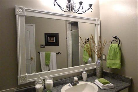 Diy Bathroom Mirror Frame Bathroom Mirror Frames Diy Stuff Pinterest