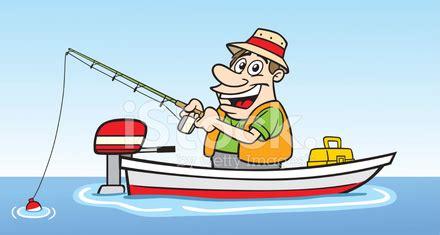 barcos de pesca animados chico de dibujos animados en barco de pesca stock photos