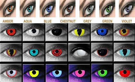 city colored contacts or spooky contact lenses and make up ideas