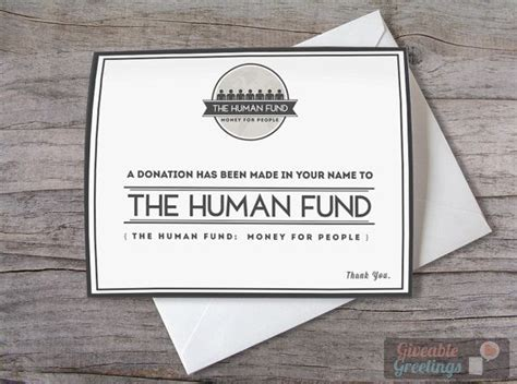 Human Fund Card Template by Seinfeld Card A Donation Has Been Made In Your