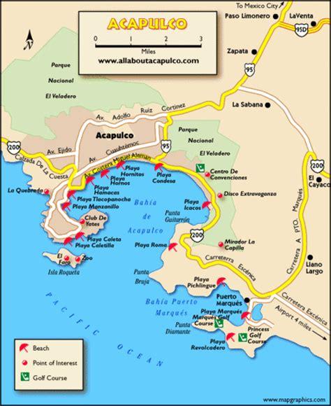 map of mexico acapulco acapulco tourist map acapulco mexico mappery