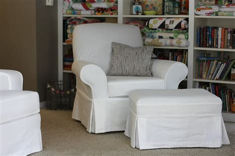 Slipcovers For Ottomans by Fibers White Slipcovered Chair And Ottoman