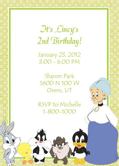 Looney Tunes Free Birthday Invitation Wedding Invitation Templates Printable Invitation Kits Looney Tunes Invitations Templates