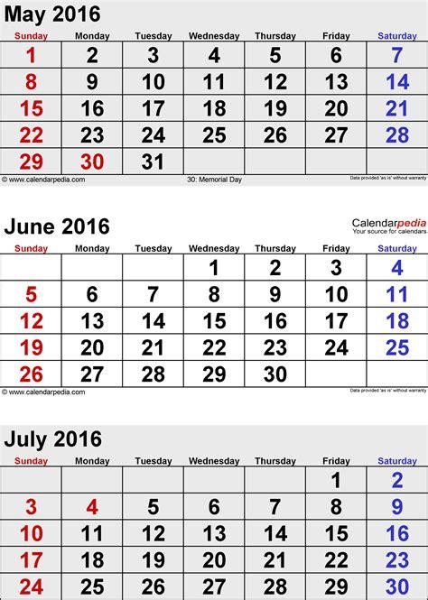 free printable monthly calendar july 2016 free 3 month calendar printable may june july 2016