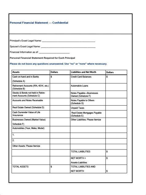 template of each financial statement 6 financial statement sles sle templates